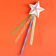 Star Wand    Create a little magic at the craft table with this mystical star wand.    Make It: Have your child paint a wooden dowel her favorite color with a foam brush. Allow to fully dry. On a wooden craft star, draw lines in glue from the center to each point. Line up sparkly beads in the glue or sprinkle the star with glitter. Assemble the wand by gluing the dowel and colorful ribbons to the back of the star.