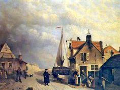 Joseph Bles (1825-1875) De locatie van de huizen achter het duin is niet duidelijk, maar zou het Schuitengat ofwel de huidige Schuitenweg in Scheveningen kunnen zijn.