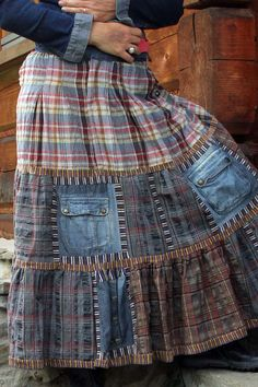 fantasy patchwork skirt-like the mix of checks and denim