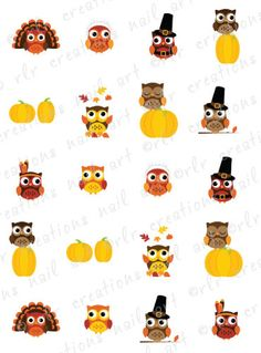 20 Nail Decals THANKSGIVING FALL OWL by RLRCreationsNailArt, $2.25 Owl Nail Art, Owl Nails, Thanksgiving Nail Designs, Thanksgiving Nails, Creative Nail Designs, Diy Nail Designs, Light Nail Polish, Fall Owl, Snowflake Nail Art
