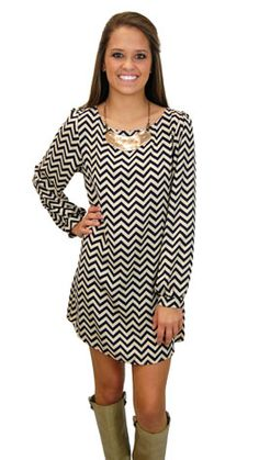 Don this chevron dress for instant style! www.shopbluedoor.com $49