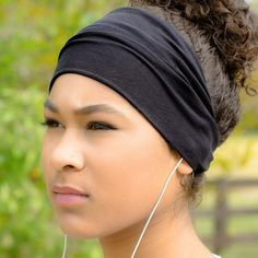 Black Sports Wrap Headband - The perfect choice for yoga or running. Available in four sizes and multiple colors, certain to fit big heads, small heads and anything in-between.