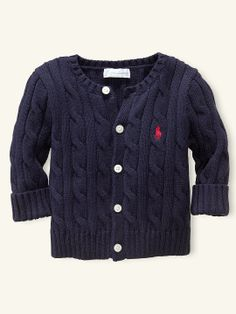 Classic Preppy Cabled Cardigan Sweater - Baby Boy - Ralph Lauren