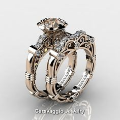 Caravaggio Jewelry 14K Rose Gold 1.0 Ct Morganite Diamond Engagement Ring Wedding Band Set R623S-14KRGDMO