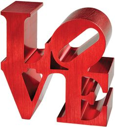 """Love Paper Weight: Valentine's Day is in the wings! Adapted from Robert Indiana's 1970 steel sculpture. Made of polished aluminum. 3 x 3"""" $75."""