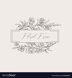 Delicate floristic geometric frame vector image on VectorStock Floral Logo, Floral Design, Doodle, Bibel Journal, Karten Diy, Name Cards, Portfolio, Botanical Illustration, Embroidery Patterns