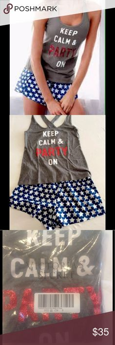 VS Pajama Set Keep Calm Party On Victoria's Secret Pajama Set  KEEP CALM & PARTY ON  One 2PC Set New In The Package.  - PRICE FIRM - BUNDLE DISCOUNTS Victoria's Secret Intimates & Sleepwear Pajamas