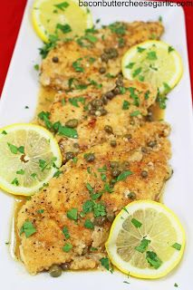 Bacon, Butter, Cheese & Garlic: Lightly breaded chicken in a beautiful caper and lemon sauce!