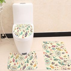 Bathroom-Mat-Set-Toilet-Lid-Cover-Rug-3pcs-Anti-Slip-Dream-catcher-oral-Fleece