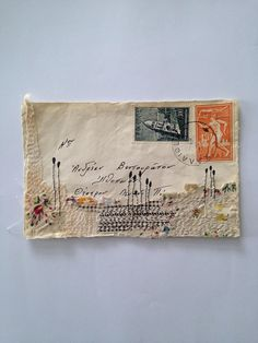 Original Mixed Media collage from Tina Jensen Art Studio Stitched textile art on old greek envelope Measures 6 x 3.6 inch Thank you so much for visiting.