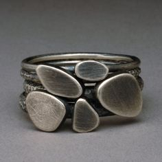 Pebble Collection Set of 5  Textured Sterling Silver Stack Rings Custom Order Any Size PSR102