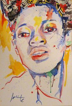 'Colores'. Acuarela y collage sobre cartón • Colours, by Jante