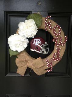 Texas A wreath for college football season - use some red and the mini u of u black helmet instead!