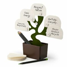 "The Bonsai Desk Organizer & Memo Holder is the perfect bonsai tree for your desk! It will hold onto your most important notes and serve as a stylish stationery holder to keep you organized. Write your notes on the included ""Leave"" notepad and then pin them to your bonsai tree with the six (6) included ""Flower"" magnets. A great gift for co-workers and family members! $24.95"
