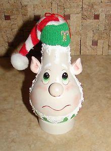 Christmas Painted Light Bulbs   ... Beautiful Handpainted Christmas Elf Ornament Hand Painted Lightbulb