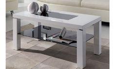 Mesa de centro con revistero, lacada en blanco con cristal inferior en negro.