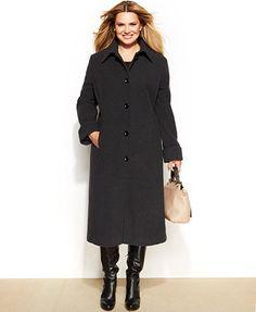 Jones New York Plus Size Wool-Blend Maxi Coat