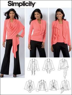 """Check it out. 10 Ways to wear the Simplicity 2603 cardi-wrap (almost identical to the DKNY """"Cozy""""). I just finished sewing this today and th..."""