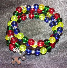 Multicolor Glass Bead Bracelet with Silver by ThreePinkPumpkins, $20.00