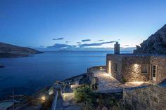 Evening view My House, Islands, Beautiful Homes, Greece, Villa, Building, Beach, Amazing, Water