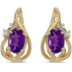 14k Yellow Gold Oval Amethyst And Diamond Teardrop Earrings.