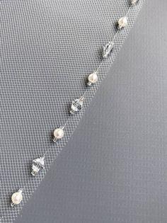 Pearl Bridal Veil, Crystal Wedding Veil, Fingertip Length Wedding Veil, Bridal Accessory, Crystal We Simple Wedding Veil, Low Cost Wedding, Wedding Veils, Lesage, Bridal Stores, Swarovski Crystal Beads, Crystal Wedding, Beaded Embroidery, Bridal Accessories