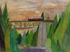 'Diesel railcar on bridge' by Lorenzo-CZ Canvas Prints, Framed Prints, Art Prints, Art Boards, Colored Pencils, Diesel, Bridge, Stationery, Wall Art