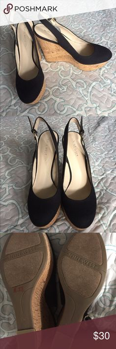 Nine West cork wedge closed toe black sling back Never worn but there is a defect on the right shoe. Upper sole bubbled up in one spot (see pictures) Nine West Shoes Wedges