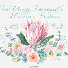 Wedding Watercolor Bouquets Protea Flowers Roses от ReachDreams