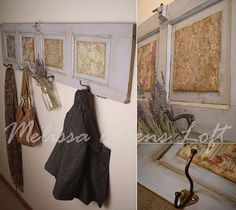 Great idea for an entry way or mud room using a small door for organization and hanging.