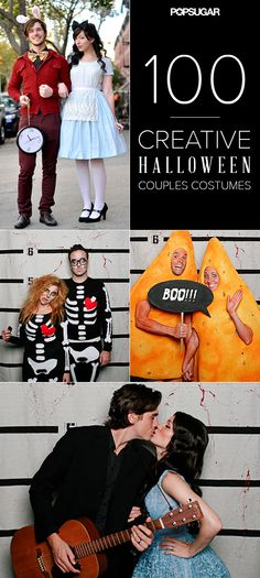 A Halloween couples costume idea for every type of couple! Couple Halloween Costumes, Halloween Crafts, Happy Halloween, Holidays Halloween, Halloween Party, Halloween Decorations, Diy Costumes, Halloween Makeup, Halloween Couples