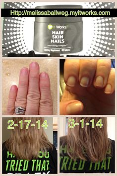 Trying to grow out your hair or nails?  It works! Hair, Skin and Nails supplement! Try it for 3 months at wholesale pricing!  Comment for more info! Http://melissaballweg.myitworks.com