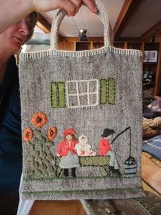 Hand-Embroidered Tote Bag.  Amongst the treasures made and sold in St. Andrews by-the-sea, New Brunswick; one of the oldest crafting centres in Canada