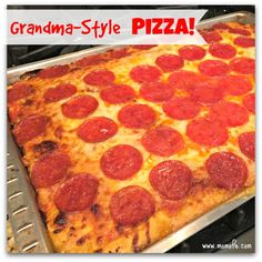 I swear- if you try making this homemade Grandma-style pizza just once- you'll be hooked! Grandma style is the name given to the rectangular pizzas you see at old-school pizza places- with the thick crust that's crispy on the bottom yet soft to bite into.