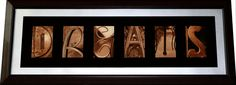 Custom Letter Art on SALE via Pinterest! This has a brown frame with black highlights, silver metallic matting, black outliners and sepia photos. When contacting me mention promo code: FRAMEPIN15 to get 15% off your order! Contact Tiffany at: CustomDecorCreations@gmail.com to get a price quote today!