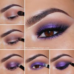 Maryam Maquillage Smokey purple tutorial. I'm in love with this purple for brown eyes