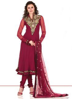 Charming Pink Georgette Kalidar Suit SLSRUH9003