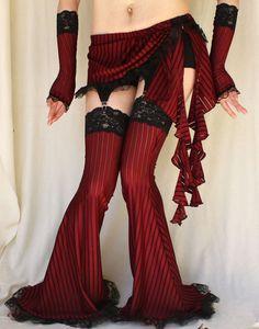 Burlesque Garter Pants Leg warmers burgundy stripe. $55.00, via Etsy.