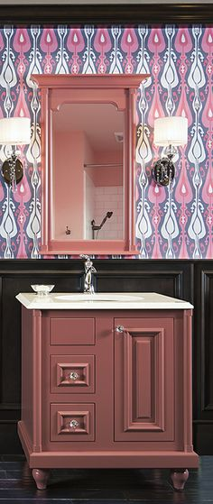 ColorInspire by Wellborn Cabinet in salmon pink bathroom vanity #Color #Cabinets #Inspiration