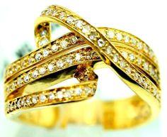 14K Yellow Gold 0.79ct TDW Diamond Cocktail Ring sz 6.5 B41. #Cocktail