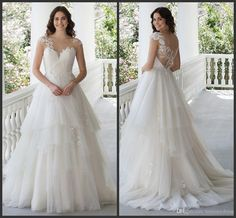 Wedding Gown Covered Bottons Iullsion Tiered Skirt Beautiful A Line Bridal Dresses Bateau Neck Simple Design Gorgeous Fashionable Design In Wedding Dress Princess Wedding Gown From Lovemydress, $150.76| Dhgate.Com