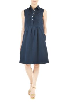 Pintucked detailing meets cotton poplin fabric for our fabulous dress thats a perfect update of summer-chic.