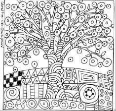 You are dealing with Karla Gerard, Maine Folk Art/Abstract Artist, Originator/Creator of concentric circles/flowers in trees paintings and in landscapes. Over of my original paintings are in worldwide collections. Folk Embroidery, Paper Embroidery, Embroidery Patterns, Primitive Embroidery, Colouring Pages, Coloring Sheets, Coloring Books, Pattern Paper, Pattern Art