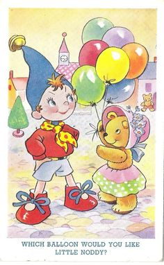 Noddy postcard. Noddy, Tessie and Baloons. I have a physical version of this and several copies.