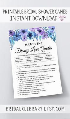 $4.00 Match Disney Love Quotes, Bridal Shower Games Printables, Bridal Shower Game Idea, Bridal Shower Instant Download, Wedding Game, Watercolor