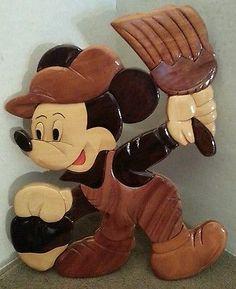 Fantástico Disney Rara Hecha A Mano de Mickey Mouse Madera Intarsia Arte Escultura Placa | eBay