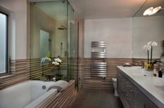 Looking for Modern Bathroom and Double Vanity Bathroom ideas? Browse Modern Bathroom and Double Vanity Bathroom images for decor, layout, furniture, and storage inspiration from HGTV. Master Bath Tile, Master Bathroom Layout, Master Bathroom Vanity, Luxury Master Bathrooms, Modern Master Bathroom, Bathroom Spa, Modern Bathroom Design, Dream Bathrooms, White Bathroom