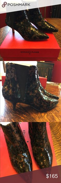 """Donald J Pliner Geeo Booties Gorgeous Donald J Pliner Geeo Embossed Metallic Leather Blend Booties size 6. These booties feature a dramatic scaled multi-Hurd palette of color, stacked 2.5"""" heel, embossed metallic leather and textile upper, point toe, side zip closure, lightly padded insole. These imported booties are new in the box!  They retail for $268 Donald J. Pliner Shoes Ankle Boots & Booties"""