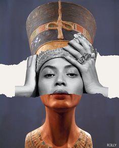 Beyoncé as Nefertiti Collage Design, Collage Art, Collages, Photomontage, Collage Magazine, Queen B, Surreal Art, Aesthetic Art, Black Art