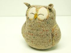 Upcycled Felted Wool Beige Sleepy Owl from Etsy